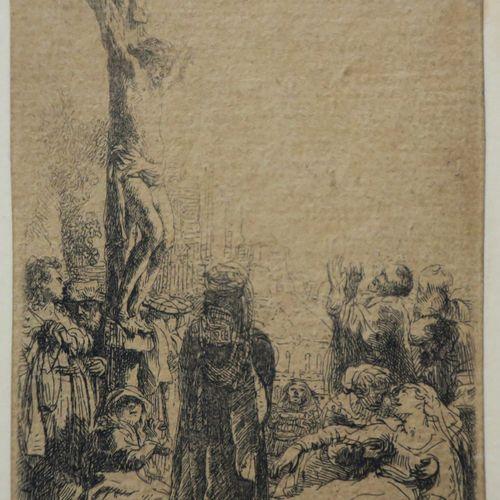 """REMBRANDT H. Van Rijn (1606 1669) """"Jésus Christ en croix"""" (The crucifixion). C.1…"""