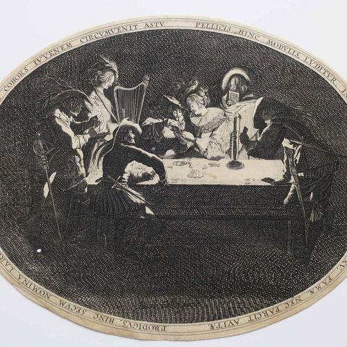 """CALLOT Jacques (Nancy 1592 1635) (d'après) """"Le Brelan"""". Copie gravée par un anon…"""