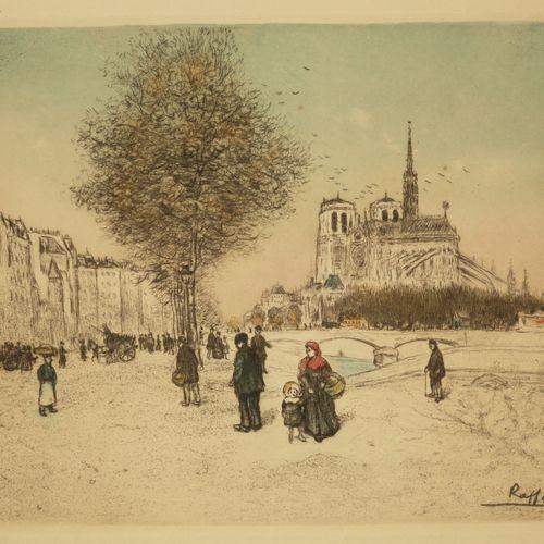 """RAFFAËLLI Jean François (Paris 1850 1924) """"Le quai de la Tournelle"""" (Notre Dame …"""