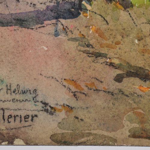 PELLERIER Maurice (Paris 1875 1962) [Péniches sur le fleuve]. Aquarelle sur papi…