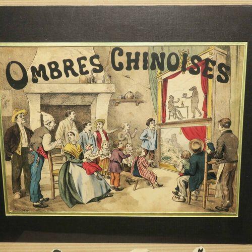 """OPTIQUE """"OMBRES CHINOISES"""". XIXème. Lithographie en couleurs. Signée """"Ludovic"""" e…"""