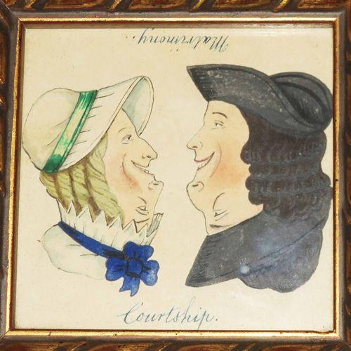 """OPTIQUE / MARIAGE """"Courtship / Matrimony"""". C.1800. Aquarelle (illusion d'optique…"""