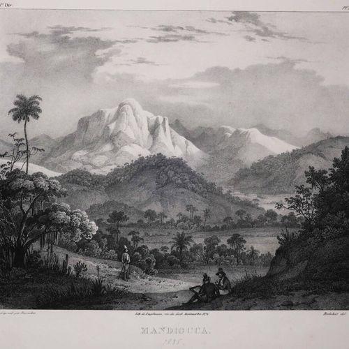 """BRESIL RIO DE JANEIRO """"MANDIOCCA (Serra da Estrela)"""". XIXème. Lithographie par B…"""
