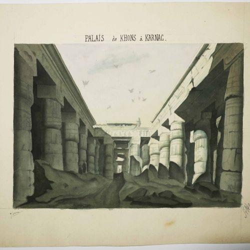 """EGYPTE """"PALAIS de KHONS à KARNAC"""". XIXème. AQUARELLE et crayon gris sur papier v…"""