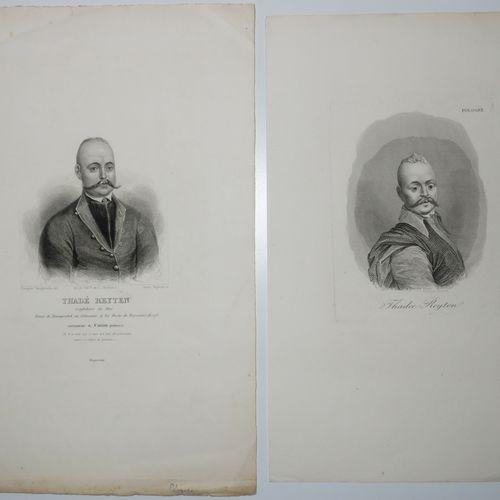 POLOGNE 2 PORTRAITS de Thadée REYTEN. XIXème. Deux gravures, l'une par Oleszczyn…