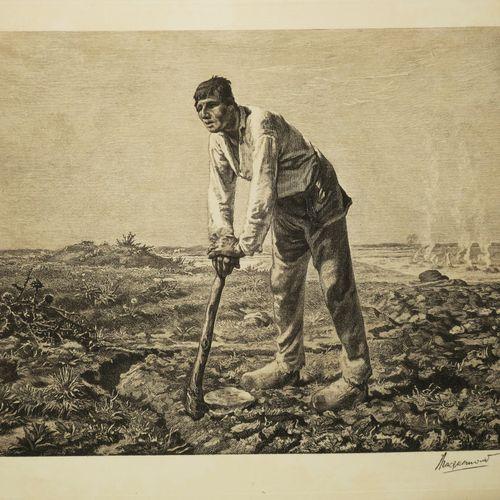 """MILLET Jean François (d'après) (Gruchy 1814 Barbizon 1875) """"L'Homme à la houe"""". …"""