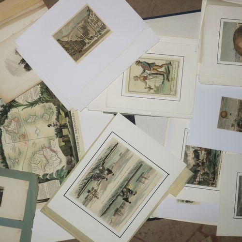 LOT d'environ 100 gravures XIXème (en noir ou couleurs), BALLONS TOPOGRAPHIE (Ca…