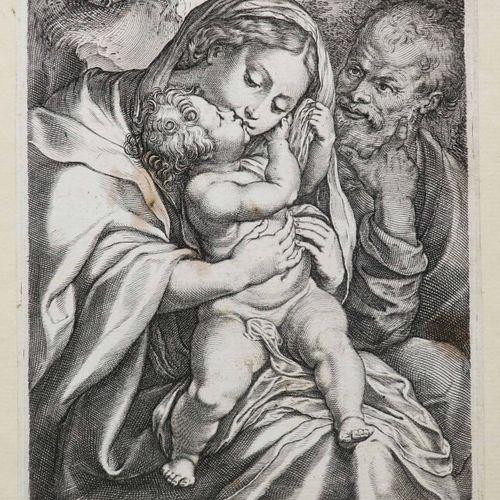 RUBENS P.P (Siegen 1577 Anvers 1640) (d'après) [La Sainte Famille]. XVIIème. Bur…