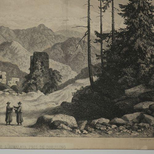 """INDE HIMALAYA """"PANORAMA DE L'HIMALAYA PRIS DE DORJILING (Darjeeling)"""". XIXème. E…"""