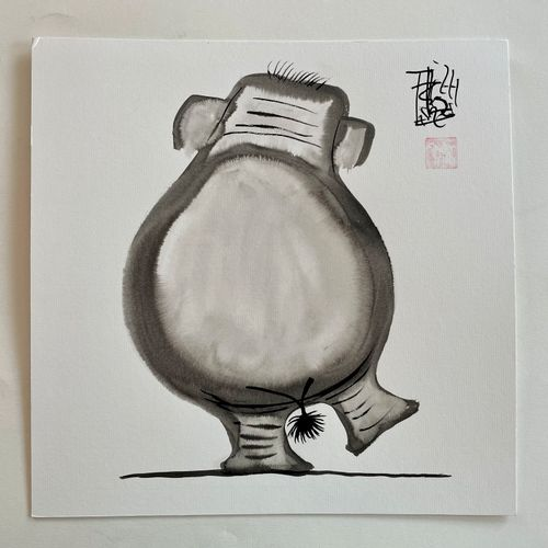 TIBAY Laszlo (Né à Szombathely, Hongrie, en 1962) [Gros éléphant ]. DESSIN origi…