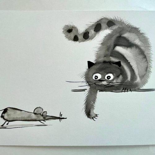 TIBAY Laszlo (Né à Szombathely, Hongrie, en 1962) [Chat chassant une souris]. DE…