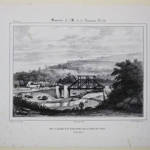 """LA REUNION A. ROUSSIN """"PONT et SUCRERIE de M. Desbassayns, sur la Rivière des pl…"""
