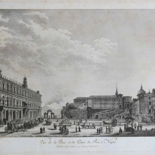 """ITALIE NAPLES """"Vue de la PLACE et du PALAIS du Roi à NAPLES"""". Entre 1781 et 1786…"""