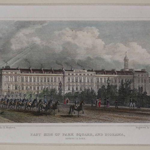 """英国 伦敦的3个光学视图。19世纪。每张19.5 x 14约。条件A。右边的石版画是 """"SPOONER""""(William SPOONER London),是19…"""
