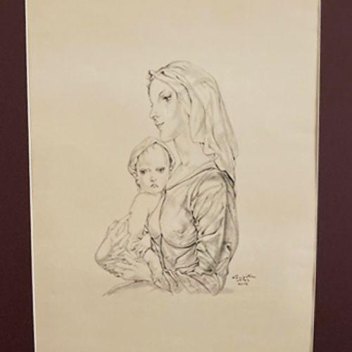 FOUJITA Léonard (Edogawa (Tokyo) 1886 1968) [Vierge à l'enfant]. 1952. Lithograp…