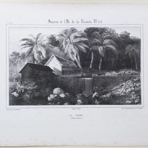 """LA REUNION A. ROUSSIN """"La Source (SAINT DENIS)"""". Juillet 1849. Lithographié par …"""