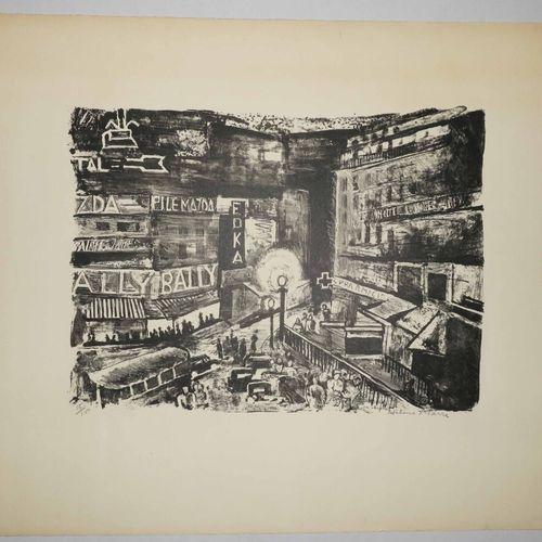 MARRÉ Hélène (1891 1968) [Carrefour urbain]. Lithographie. Epreuve sur papier vé…