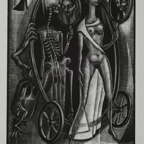 ALLEGORIE DE LA MORT [Le revers du miroir]. Bois gravé par Paul KOCH (né en 1927…