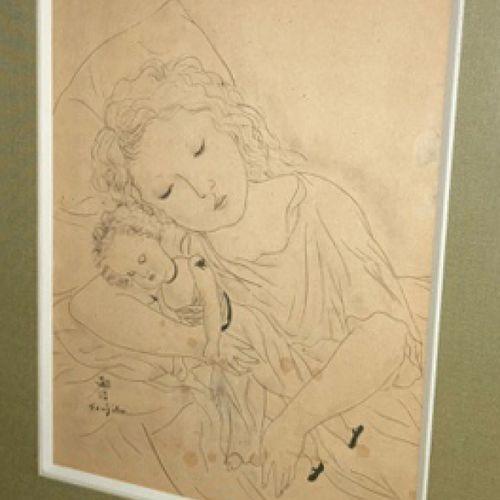 """FOUJITA Léonard (Edogawa (Tokyo) 1886 1968) """"La Poupée"""". 1925. Lithographie. Sig…"""