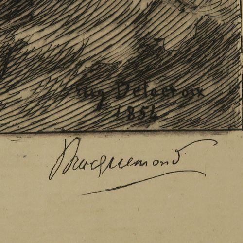 """BRACQUEMOND Félix (Paris 1883 1914) """"Christ sur le lac de Genesareth"""". C.1883. E…"""