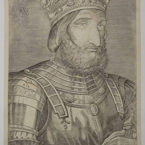 """VENEZIANO Agostino (Venise 1490 Rome 1540) """"Portrait de François I er"""". 1536. Bu…"""