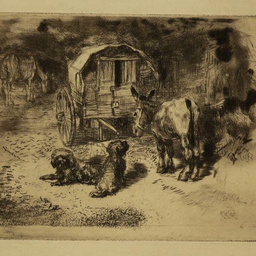 """BUHOT Félix (Valognes (Manche) 1847 Paris 1898) """"Gardiens du logis, ou les amis …"""