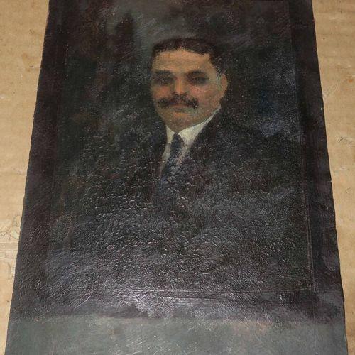 ANONYME [Portrait d'homme à la cravate, Etude de portrait]. XIXème. Huile. Non s…