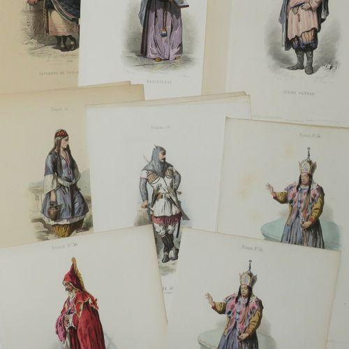 RUSSIE LOT de 22 COSTUMES RUSSES en coloris ancien (quelques doubles). XIXème. 2…