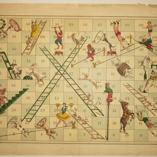 JEU ANCIEN XIXème. Lithographie. Impression en couleurs, sur papier vélin, par R…