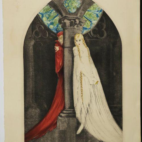"""ICART Louis (Toulouse 1888 Paris 1951) """"Faust"""". 1928. Gravure originale à l'eau …"""