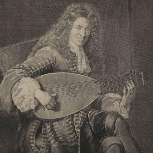 """EDELINCK Gérard (1640 1707) PORTRAIT de """"Charles MOUTON, musicien de Louis XIV (…"""
