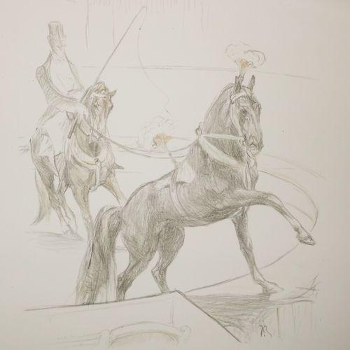 ROIG Y SOLER Juan (Barcelone 1852 1909) [Dompteur de chevaux] (Cirque). C.1907 1…