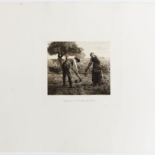 """MILLET Jean François (d'après) (Gruchy 1814 Barbizon 1875) """"Planteurs des Pommes…"""