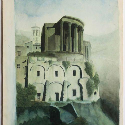 """ITALIE ROME """"TEMPLE de VESTA à TIVOLI"""". XIXème. AQUARELLE sur papier vélin. 29,5…"""