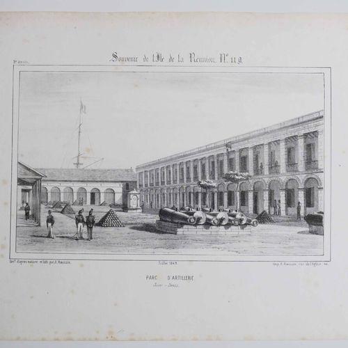 """LA REUNION A. ROUSSIN """"Parc d'Artillerie, Saint Denis"""". Juillet 1849. Lithograph…"""