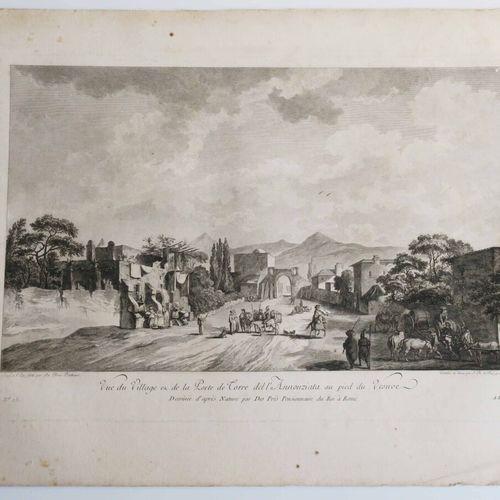 """ITALIE VESUVE (NAPLES) """"Vue du Village et de la Porte de Torre del l'Annonziata …"""