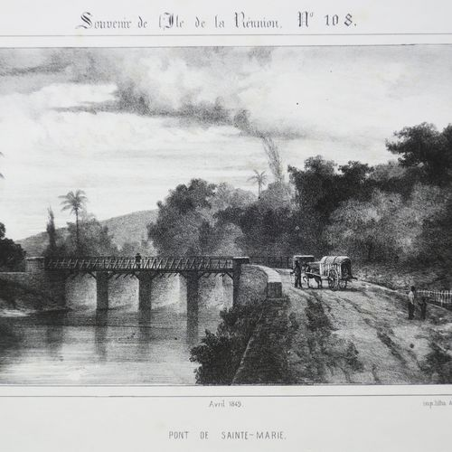 """LA REUNION A. ROUSSIN & POTEMONT """"PONT de SAINTE MARIE"""". Avril 1849. Lithographi…"""