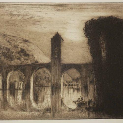 """BRANGWYN Franck (Bruges 1867 Ditching 1956) """"Le Pont valentré, à Cahors"""". C.1910…"""