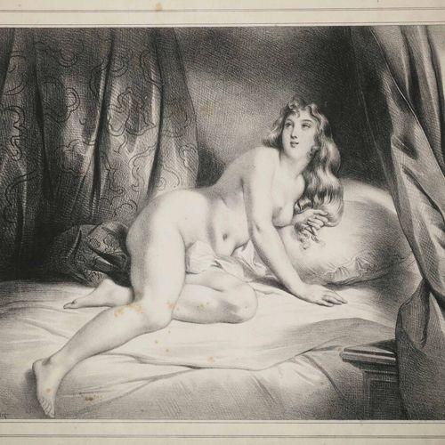 """DEVERIA Achille (Paris 1800 1857) """"L'Espérance Hoping"""" (Femme dénudée, allongée)…"""