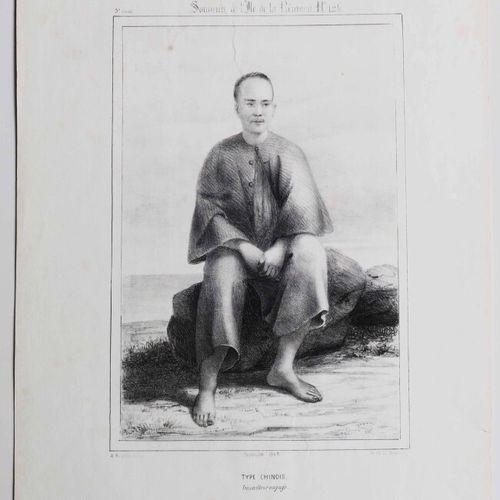 """LA REUNION A. ROUSSIN """"Type Chinois. Travailleur engagé"""". Septembre 1849. Dessin…"""