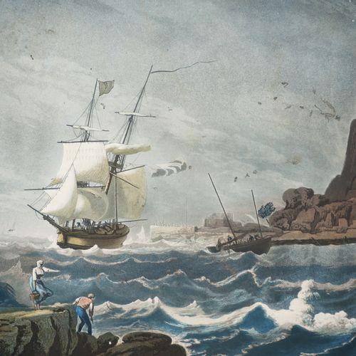 """SEINE MARITIME (76) """"PORT DE FÉCAMP"""". C.1813. Aquatinte gravée par François AUBE…"""