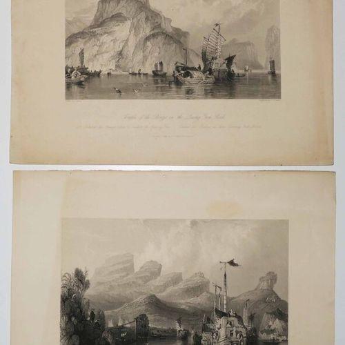 """CHINE Réunion de 2 planches: 1 """"Le Temple des Bonzes dans le rocher de Quang Yen…"""
