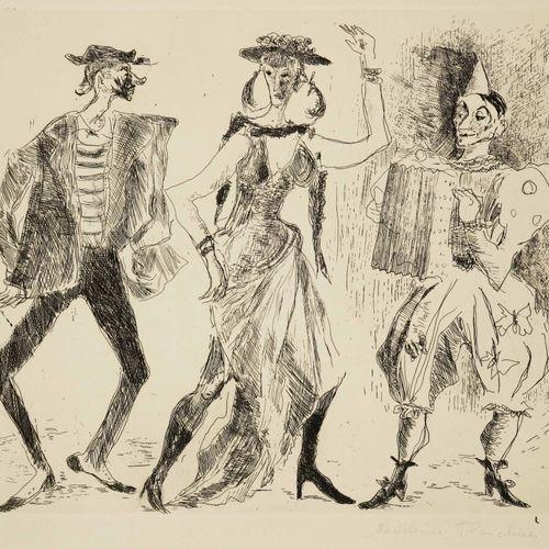 """FLASCHNER Madeleine (né en 1933) """"Les Personnages du Cirque"""". Eau forte original…"""