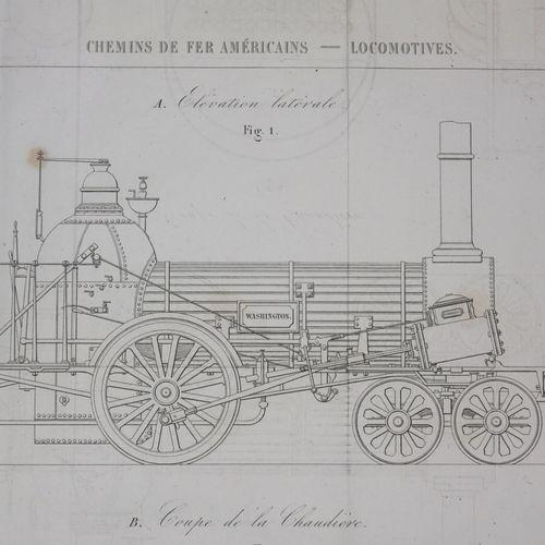 ETATS UNIS CHEMINS DE FER AMÉRICAINS LOCOMOTIVES. C.1880. Gravé par Dulos. Papie…