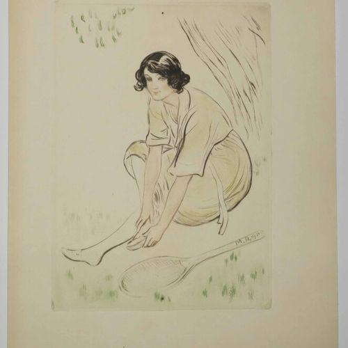 """MALO RENAULT Auguste (Saint Malo 1870 1938) """"Après le match (Tennis)."""" 1921. Poi…"""