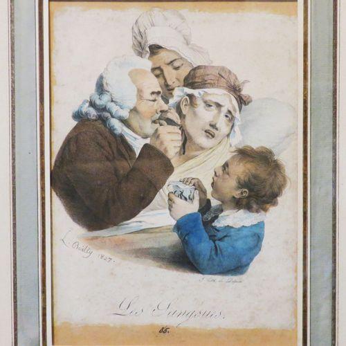 """BOILLY Louis (Bassée 1761 Paris 1845) """"Les sangsues"""". 1827. Lithographie origina…"""