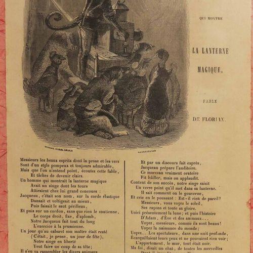 """LANTERNE MAGIQUE """"Le Singe qui montre la Lanterne Magique, Fable de Florian"""". XI…"""