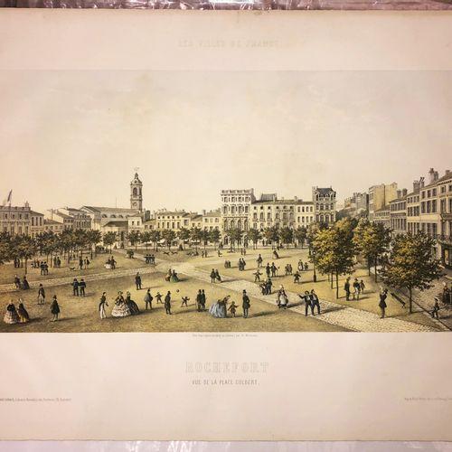 """CHARENTE MARITIME (17) """"ROCHEFORT, Vue de la PLACE COLBERT"""". C.1860. Lithographi…"""