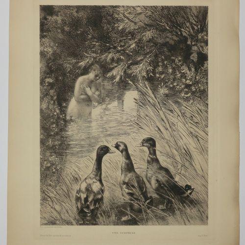 """BRACQUEMOND Félix (Paris 1883 1914) """"Une surprise"""" (Femme au bain devant trois c…"""