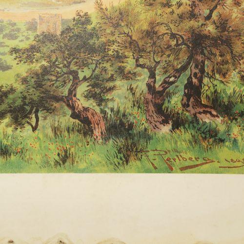 """ISRAËL VUE de """"JÉRUSALEM"""". C.1898. Lithographie offset en couleurs d'après Fried…"""